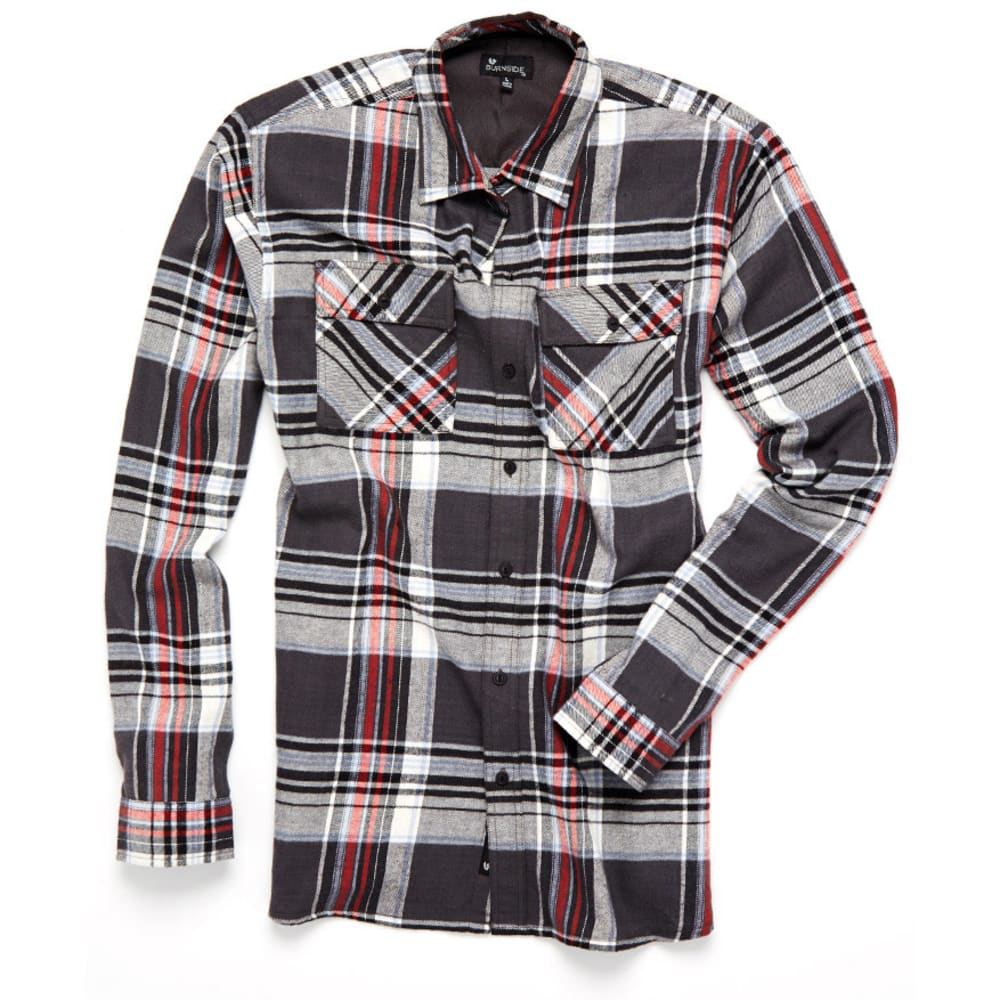 BURNSIDE Guys' 2 Pocket Plaid Flannel Shirt - BLACK