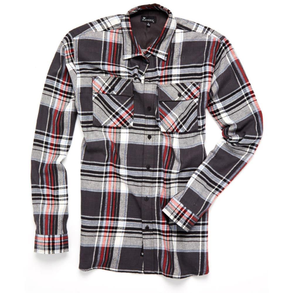 BURNSIDE Guys' 2 Pocket Plaid Flannel Shirt - BLACK