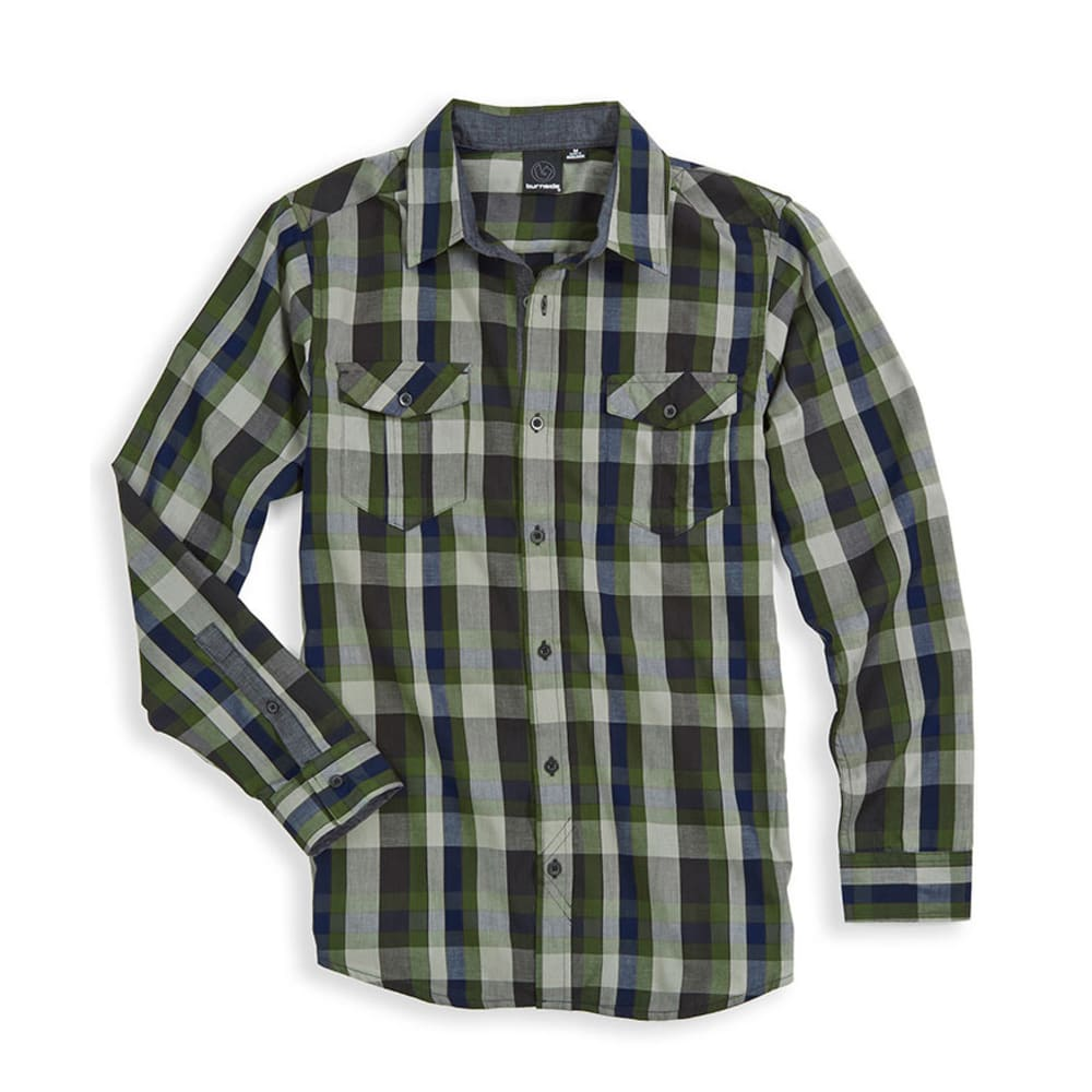 BURNSIDE Young Men's Tundra Woven Shirt - ARMY