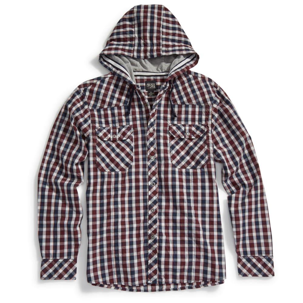 BLACK JACK Guys' Hooded Woven Plaid Snap Shirt - SYRAH