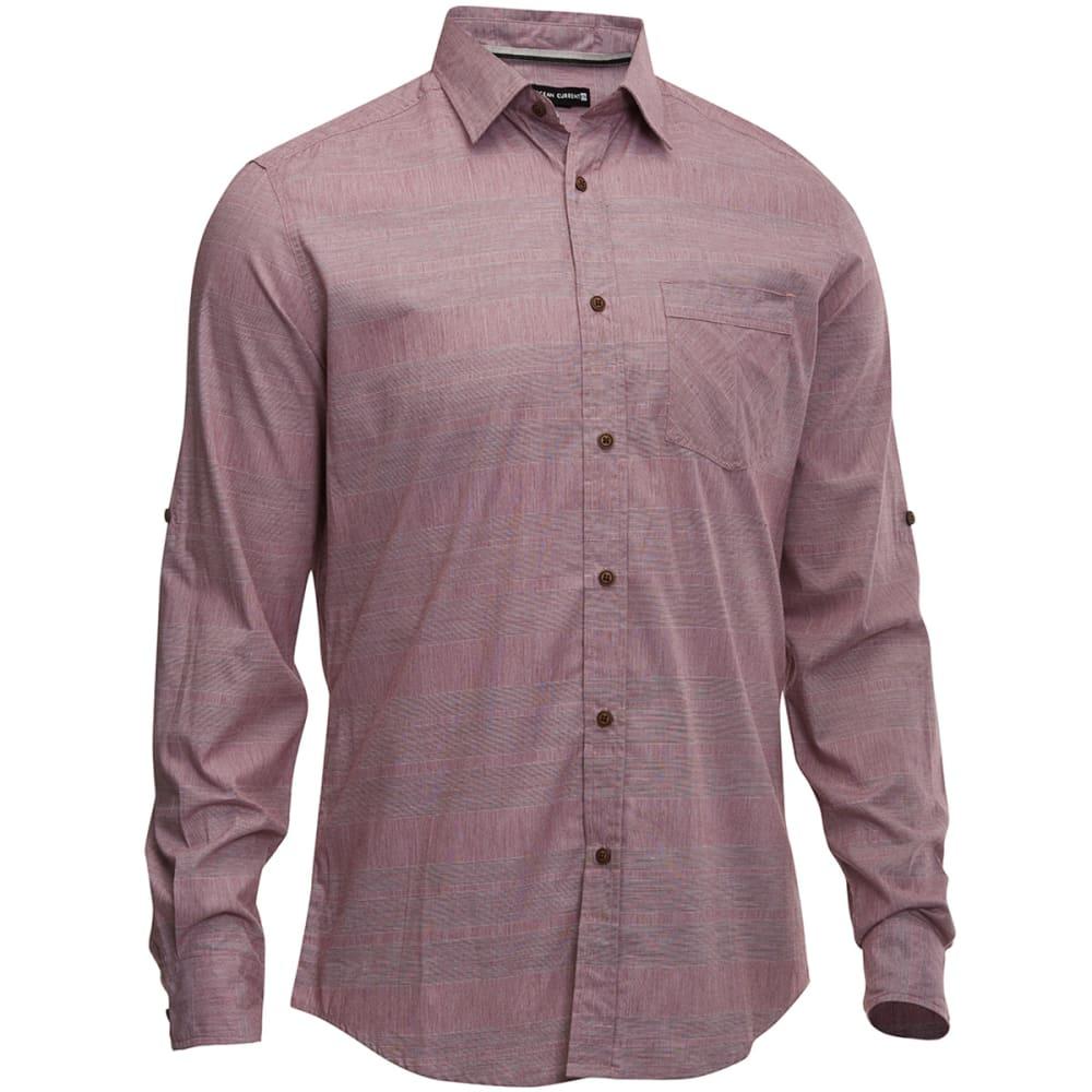 OCEAN CURRENT Men's Ray Long Sleeve Woven Shirt - DEEP BURGUNDY