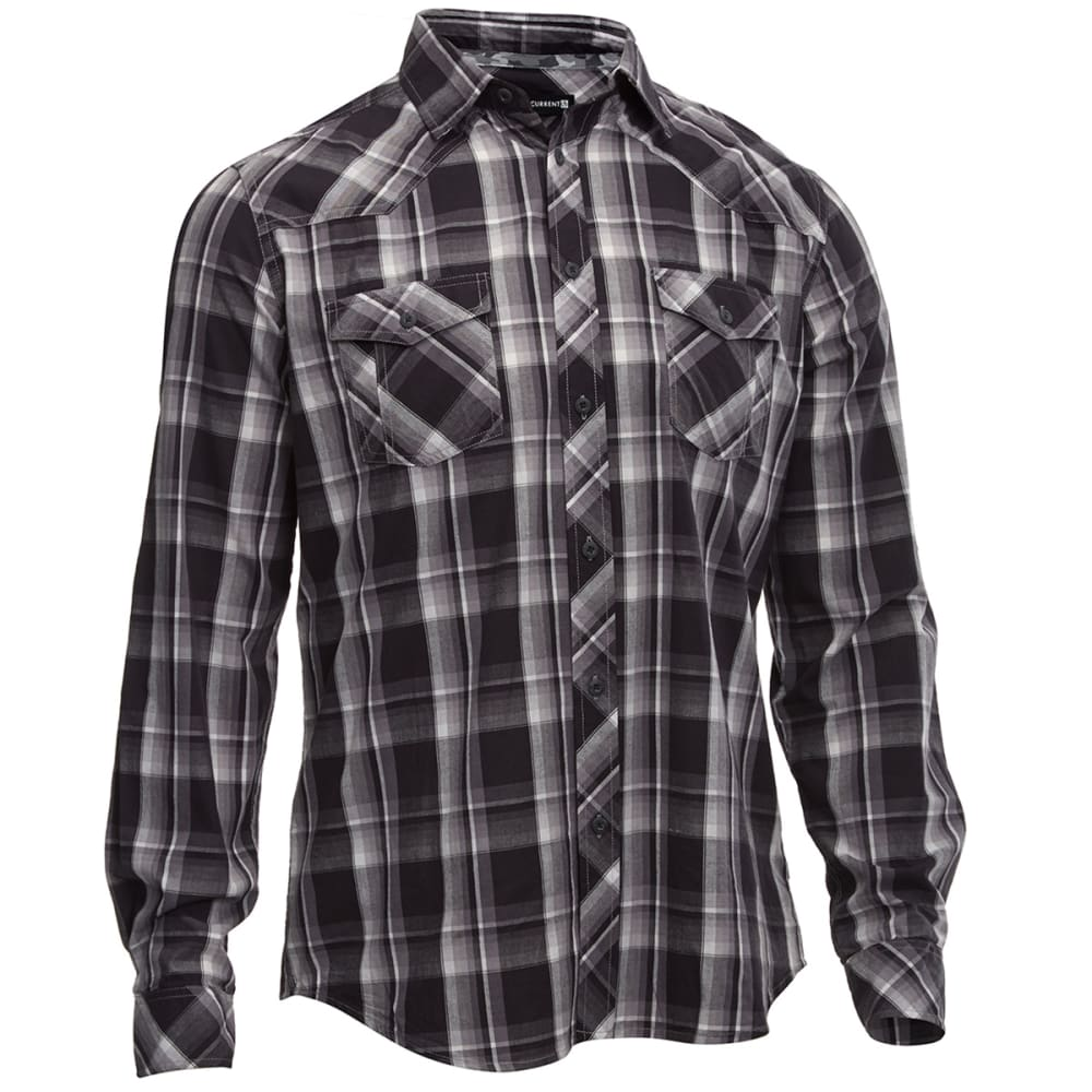 UNIVIBE Men's Excess Plaid Long Sleeve Woven Shirt - BLACK