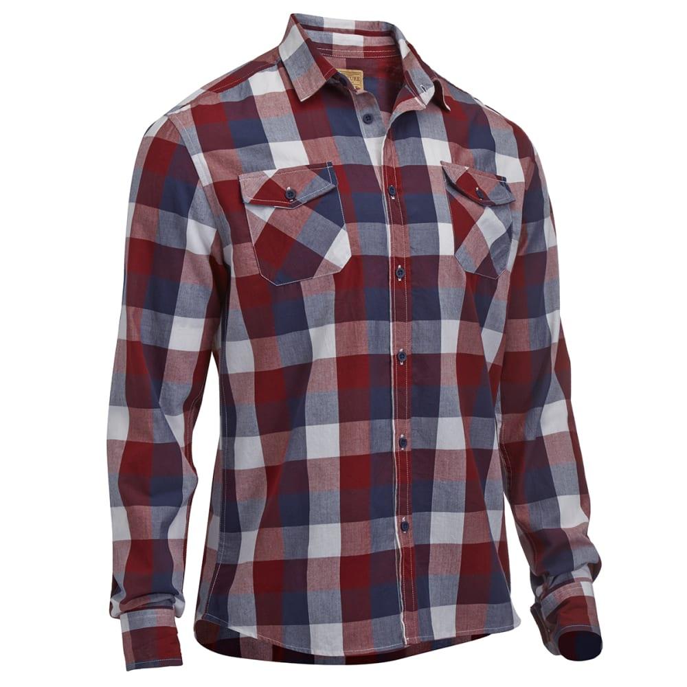 FREE NATURE Guys' Woven Buffalo Plaid Button-Down Shirt - HAUTE RED
