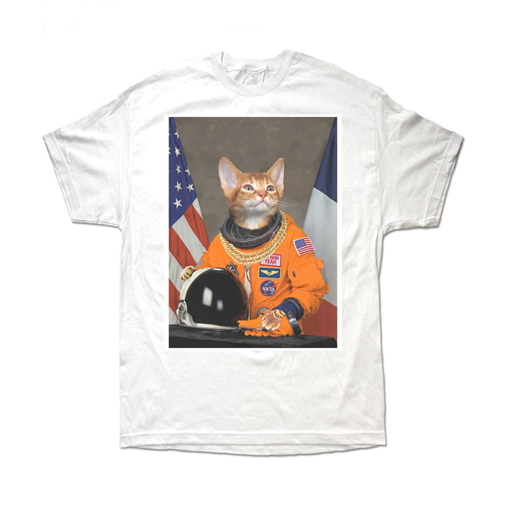 CAT ASTRONAUT Guys' Graphic Tee - BLOWOUT - WHITE