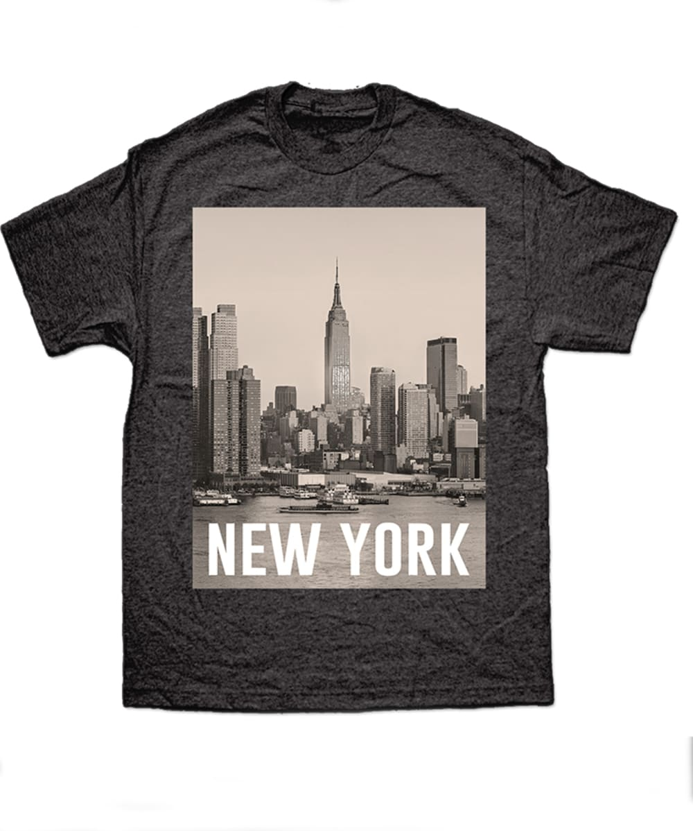 TRAU AND LOEVNER Men's New York Skyline Graphic Tee - CHARCOAL HEATHER