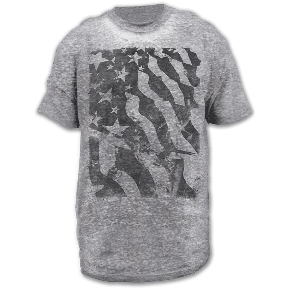 HYBRID Guys' Platinum Heather Flag Burnout Tee - PLATINUM HEATHER