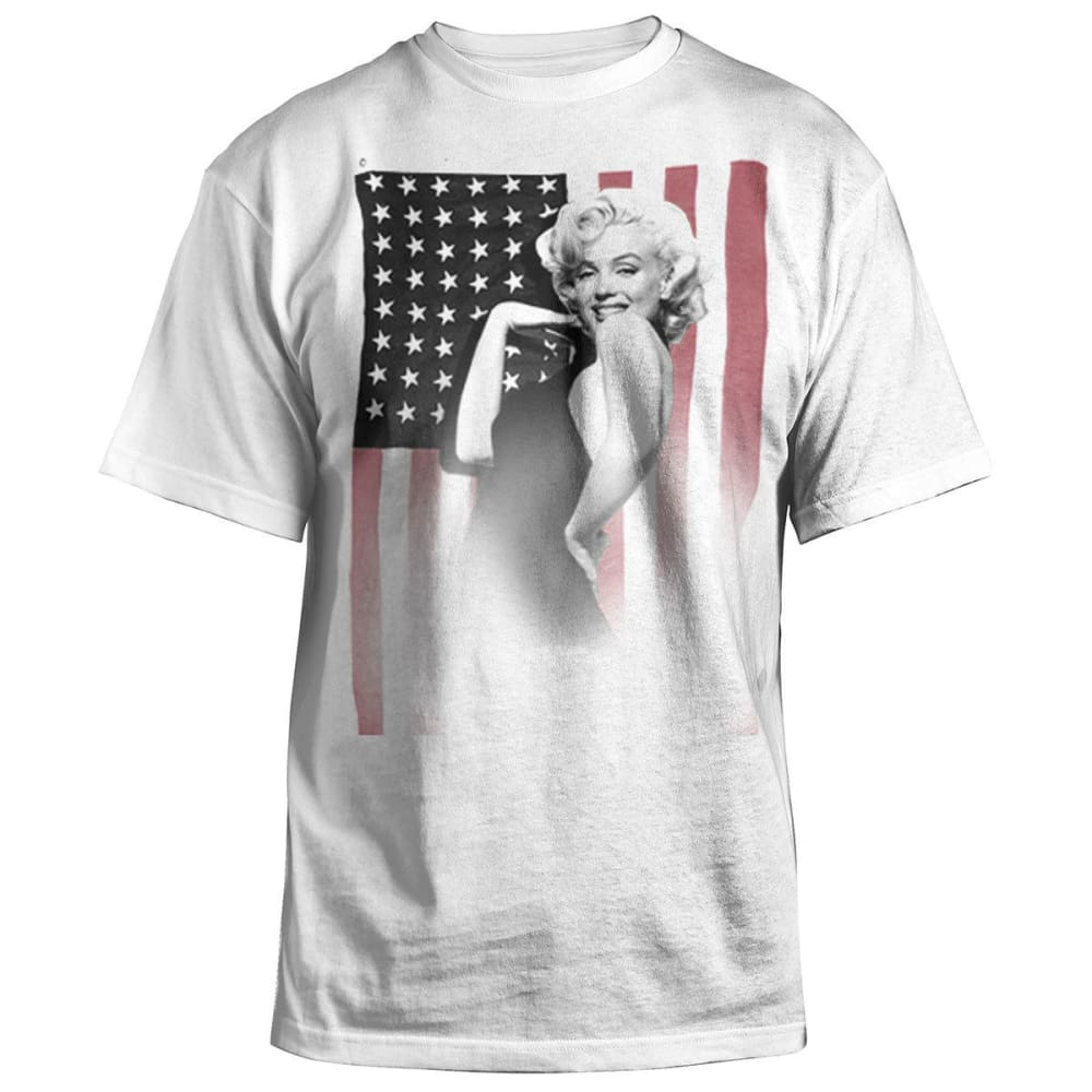 HYBRID Guys' Marilyn Monroe USA Flag Tee - WHITE/OXFORD GREY