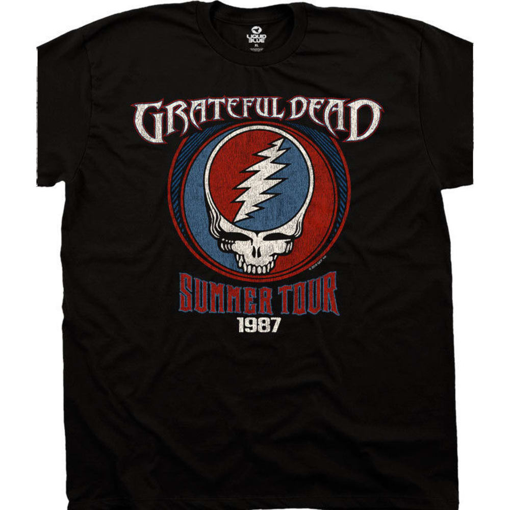 LIQUID BLUE Men's Grateful Dead Summer Tour 1987 Tee - BLACK