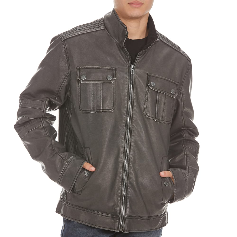 DISTORION Guys' Pleather Jacket - GREY