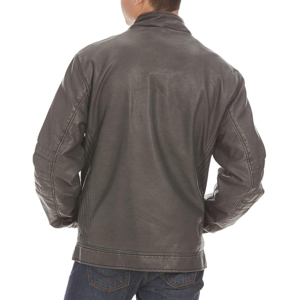 DISTORION Guys' Pleather Jacket - GREY