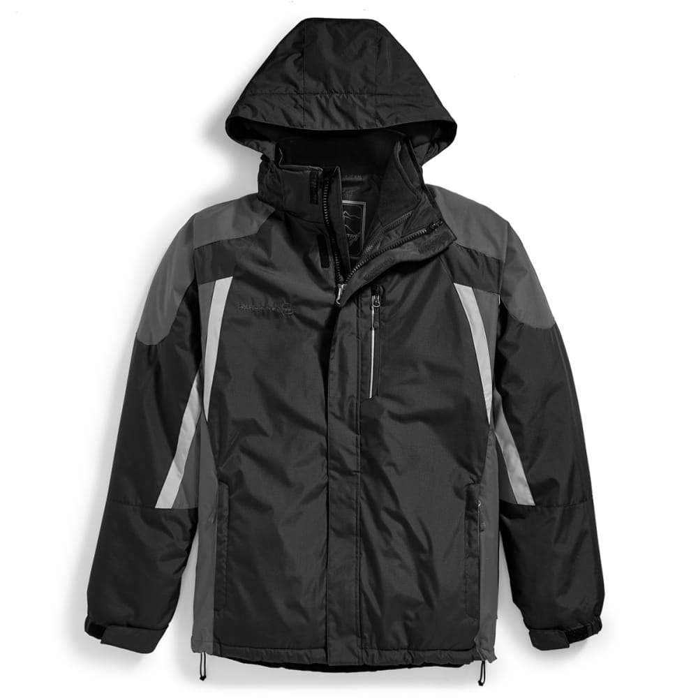 FREE COUNTRY Men's Colorblock 3-in-1 Systems Jacket - BLACK