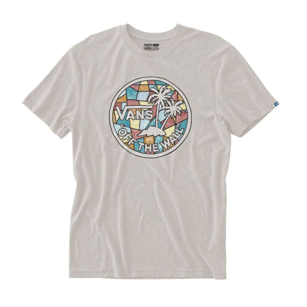 VANS Guys' Mosaic Palm Trees Tee - OATMEAL HEATHER