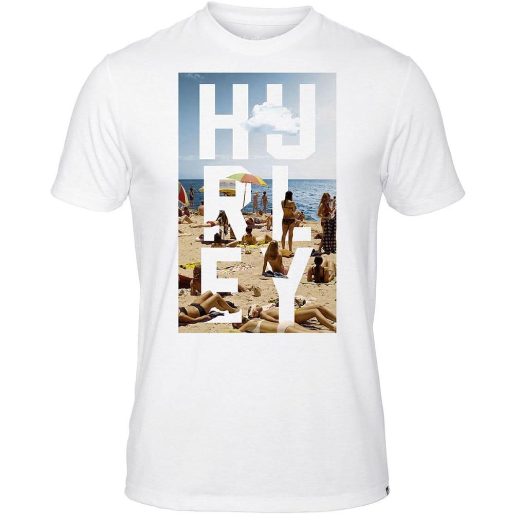 HURLEY Men's Kickin' It Beach Photo Tee - WHITE/CERISE