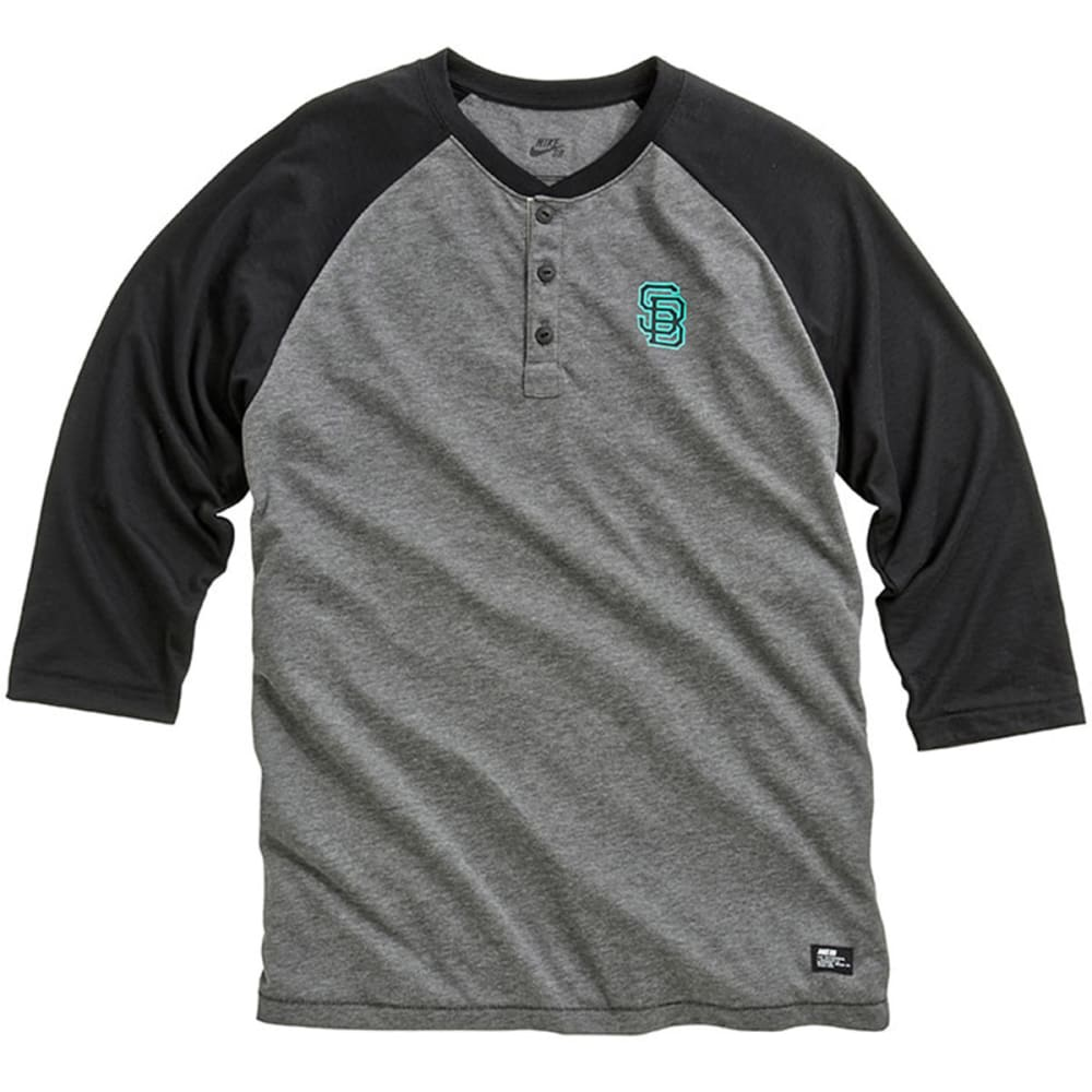 NIKE SB Guys' Everett Dri-Fit Henley Shirt - CHARCOAL/GREY