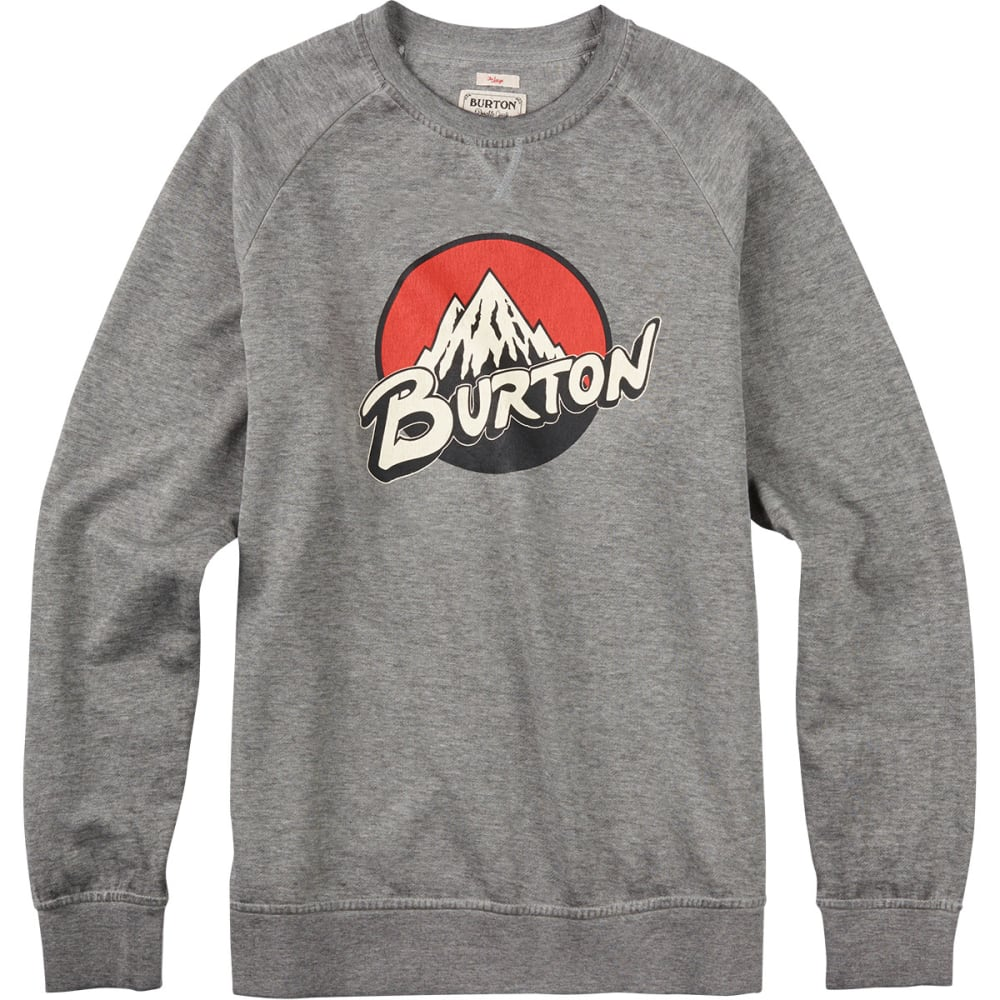 BURTON Guys' Retro Lockup Crew Pullover - HEATHER GREY