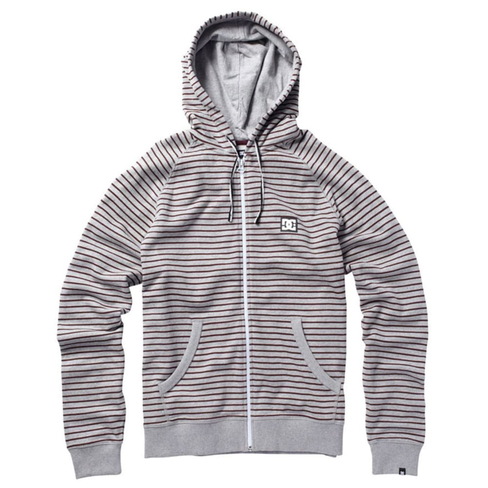 DC SHOES Young Men's Cage Stripe Fleece - HEATHER GREY/MAROON