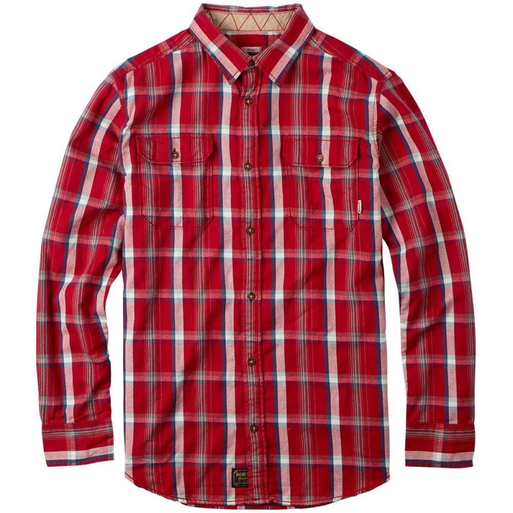 BURTON Guys' Brighton Plaid Flannel Shirt - RED OCHRE