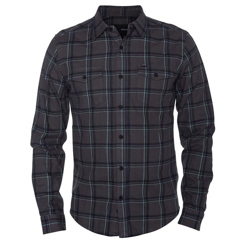HURLEY Guys' Long Sleeve Flannel - MEDIUM ASH