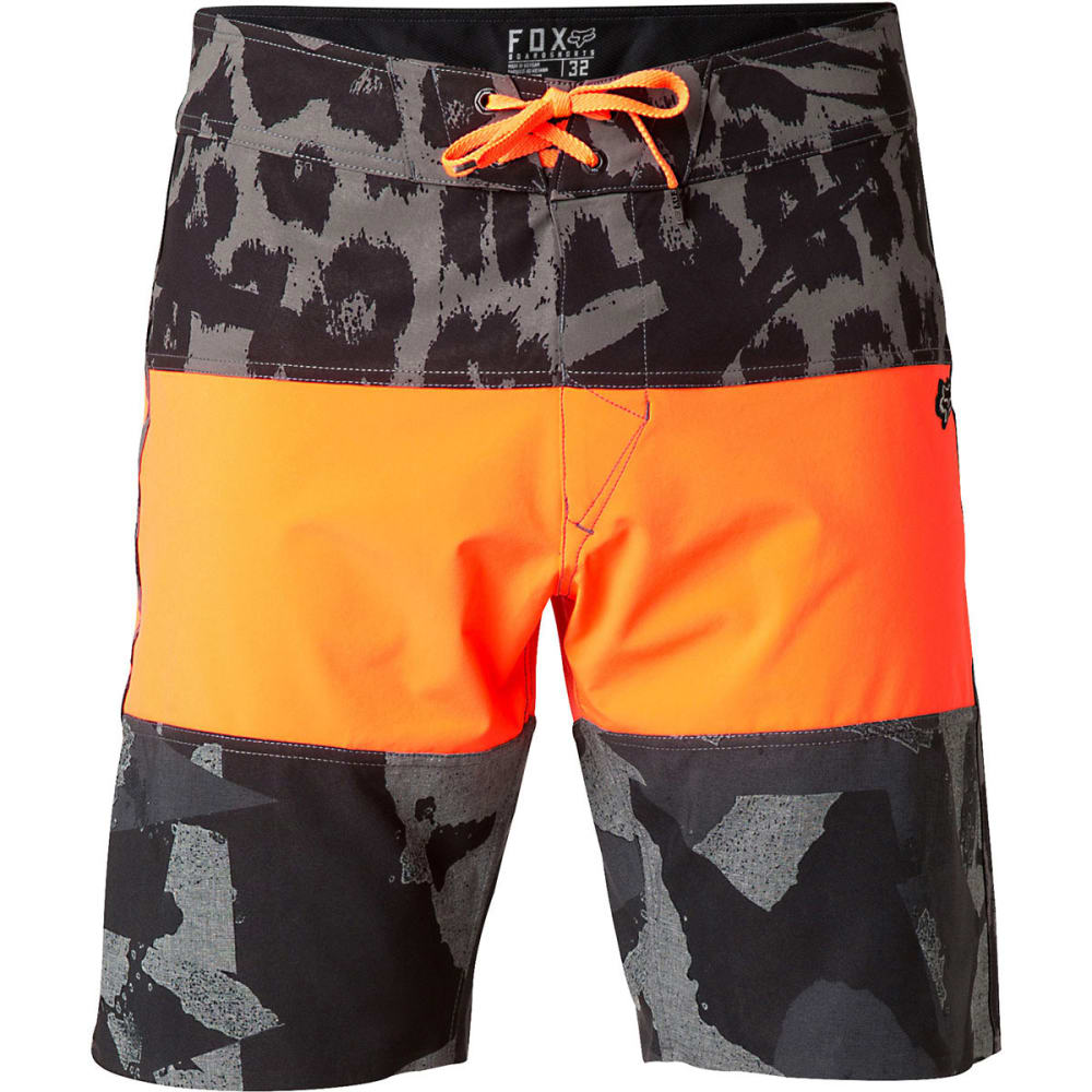 FOX Guys' Camino Stacker Board Shorts - FLO ORANGE