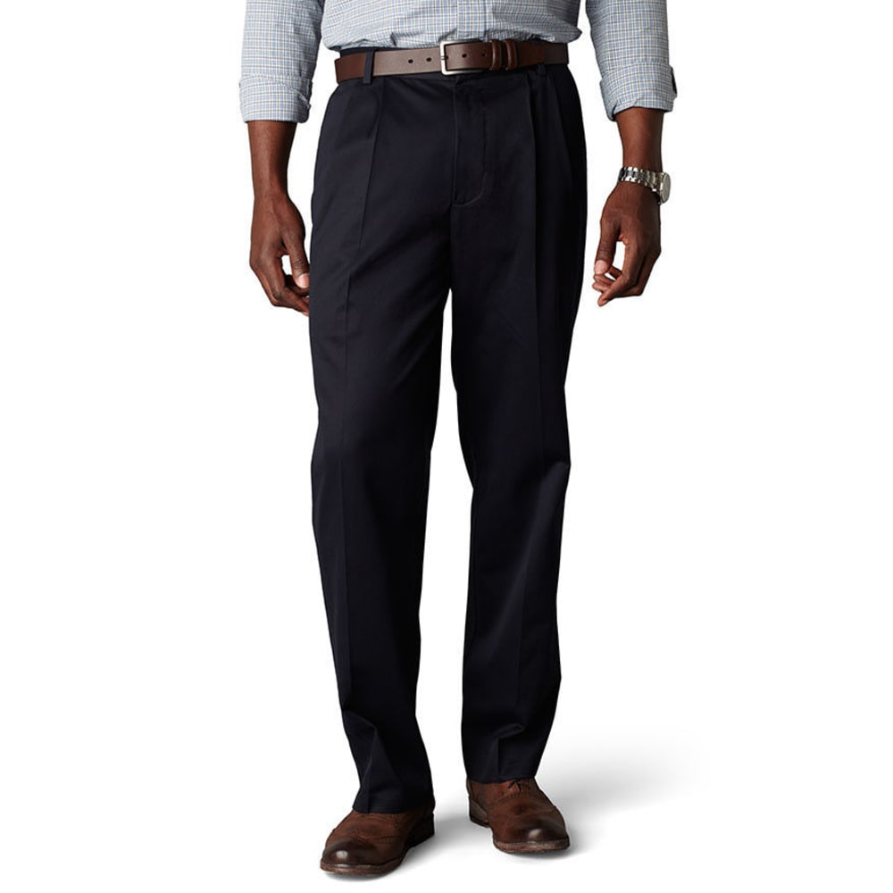 Dockers Signature Khaki Classic Fit Pleated Pants - Blue, 36/32
