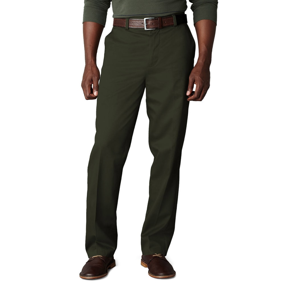 DOCKERS Signature Khaki Classic Fit Flat Front Pants - DARK OLIVE