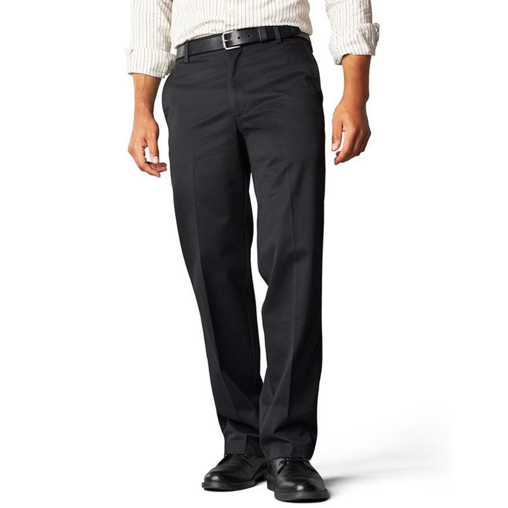 DOCKERS Signature Khaki Straight Fit Flat Front Pants - BLACK