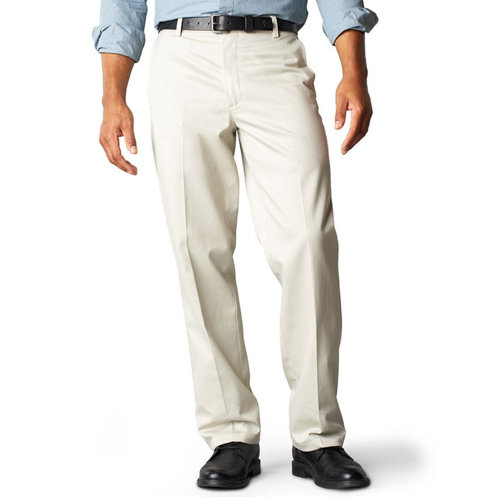 DOCKERS Signature Khaki Straight Fit Flat Front Pants - CLOUD