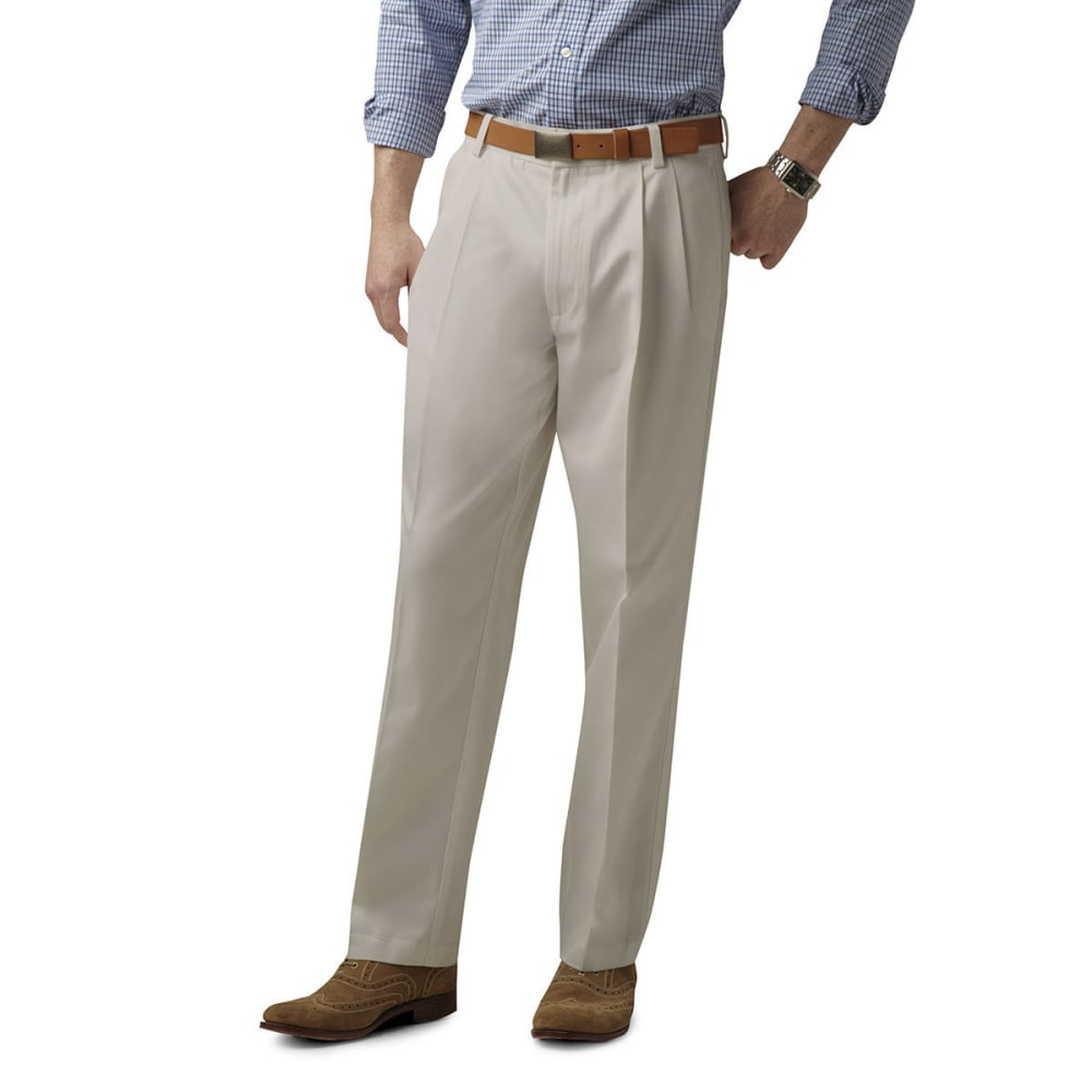 DOCKERS Men's Signature Khaki Classic Fit Pleated Pants, Extended sizes - CLOUD