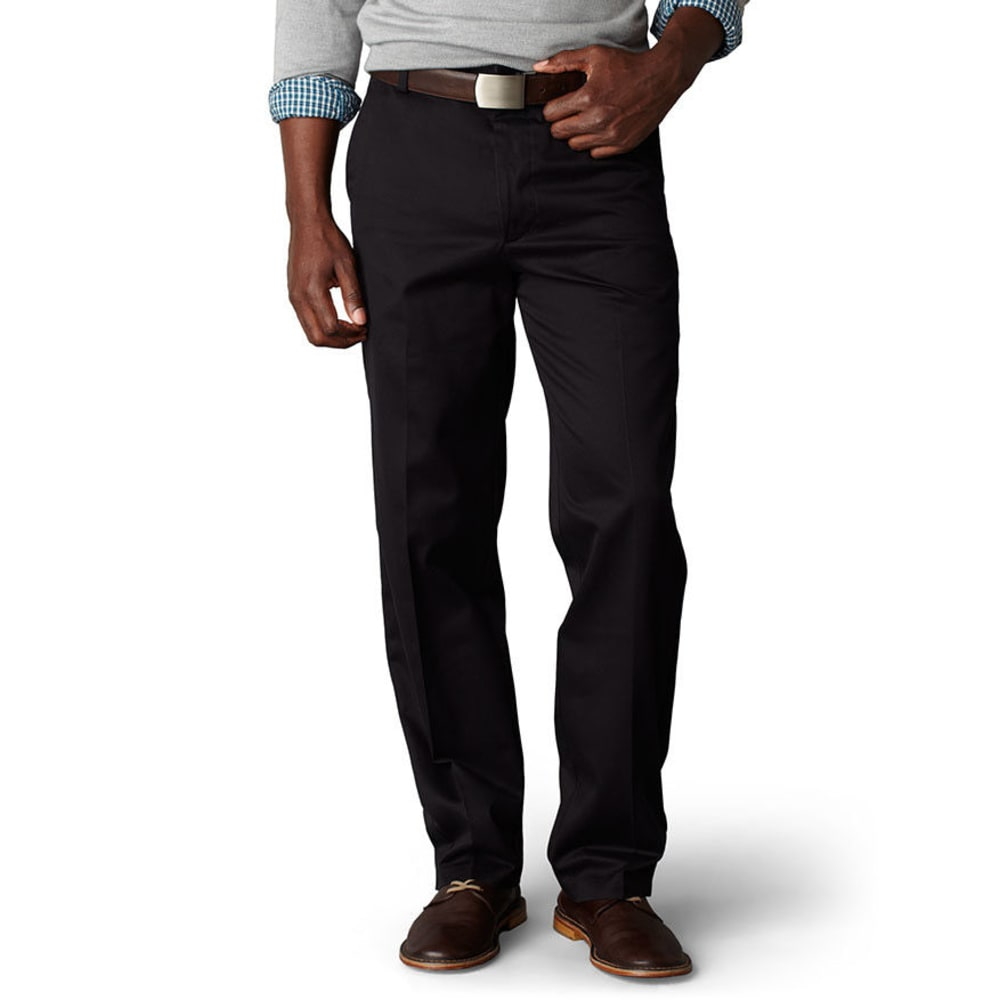 DOCKERS Men's Signature Khaki Classic Fit Flat Front Pants, Extended Sizes - BLACK