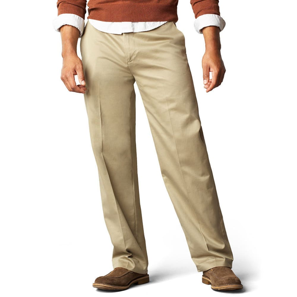 DOCKERS Men's Signature Khaki Classic Fit Flat Front Pants, Extended Sizes - DARK KHAKI