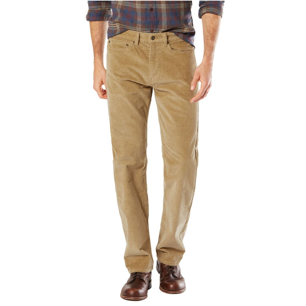DOCKERS Men's 5-Pocket Corduroy Straight Fit Pants, Steelhead - NEW BRIT KHAKI 0041