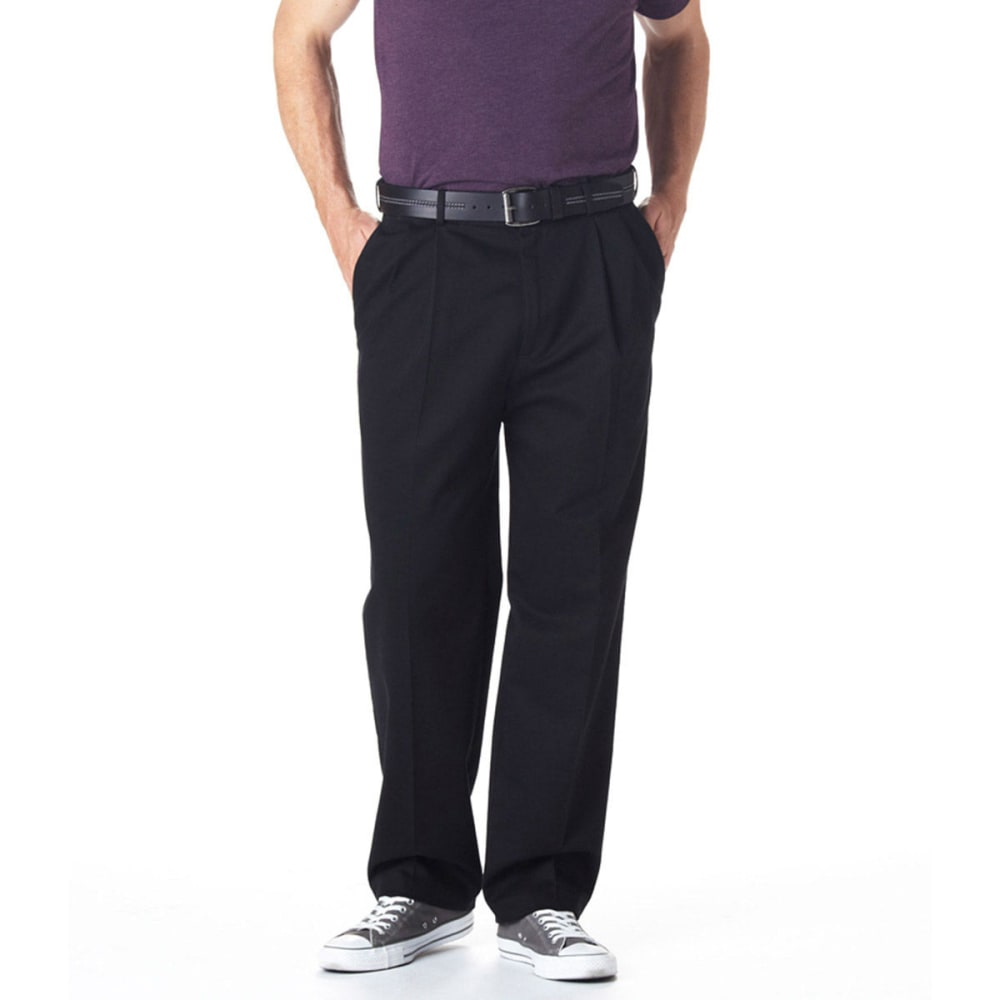HAGGAR Work-to-Weekend Pleat Front Khaki Pants - BLACK