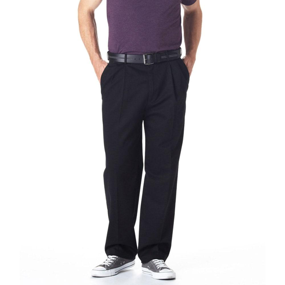 HAGGAR Work-to-Weekend Pleat Front Khaki Pants - BLACK
