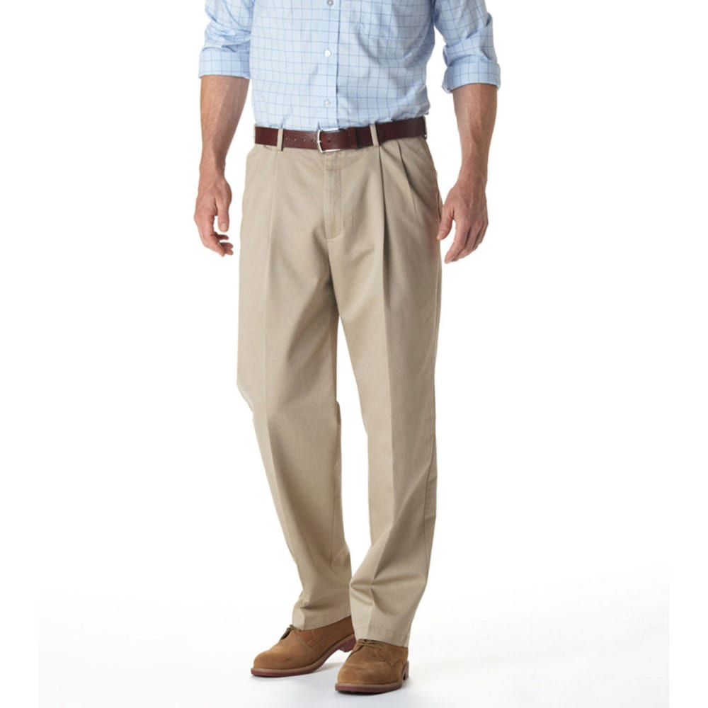 HAGGAR Work-to-Weekend Pleat Front Khaki Pants - KHAKI