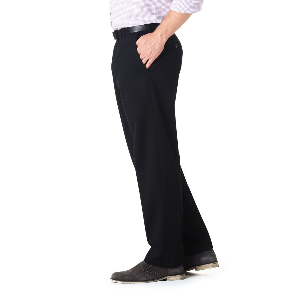 HAGGAR Work-to-Weekend Flat Front Khakis - BLACK 19