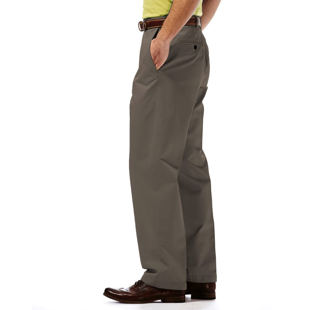 HAGGAR Work-to-Weekend Flat Front Khakis - BARK 67