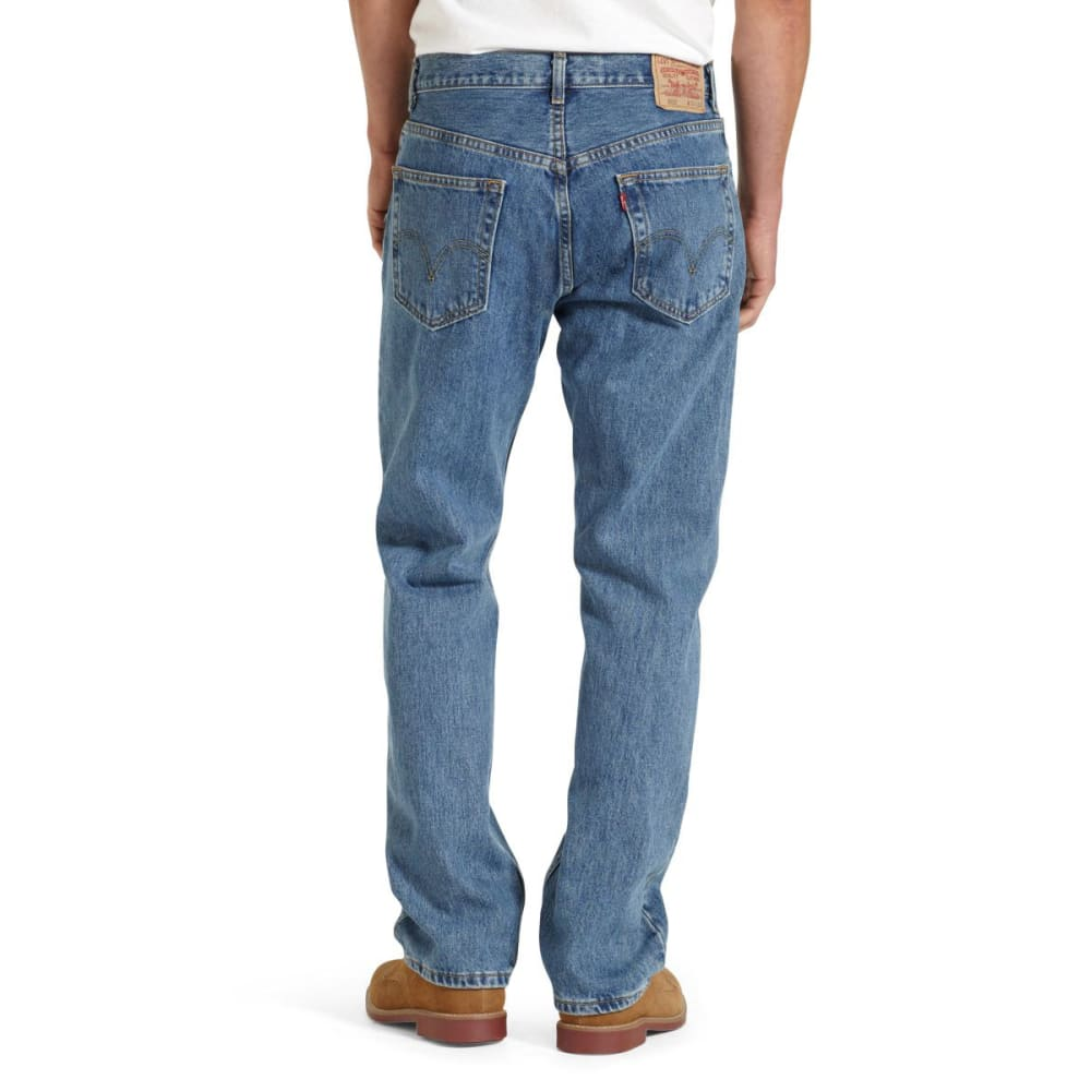 LEVI'S Men's 505 Regular Fit Jeans - MED STONEWASH 4891