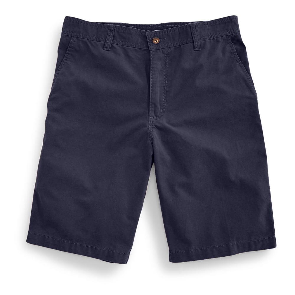 BCC Men's Flat Front Microcanvas Shorts - NAVY