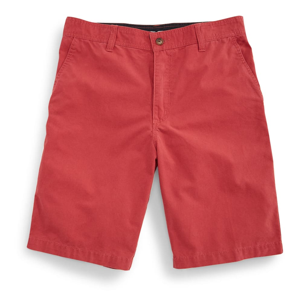 BCC Men's Flat Front Microcanvas Shorts - Red, 42