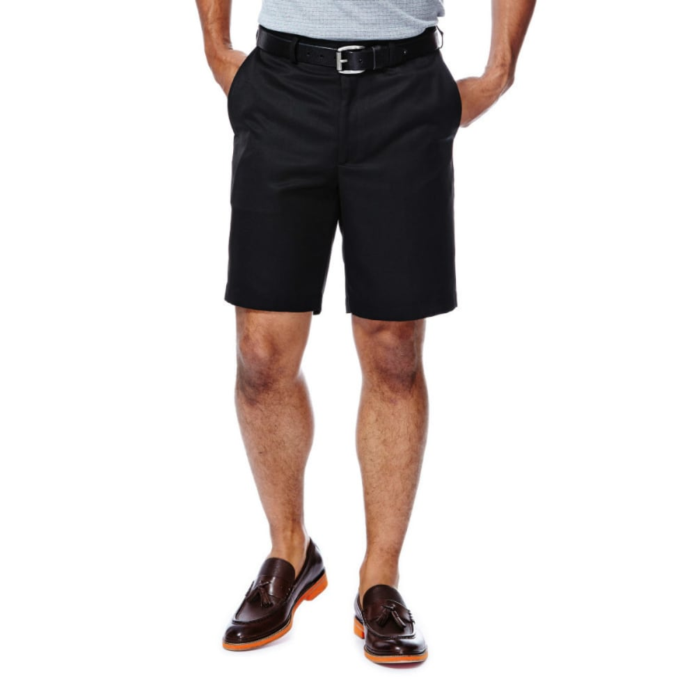 HAGGAR Men's Cool 18 Flat Front Shorts - BLACK