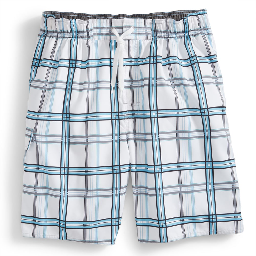 NEWPORT BLUE Men's Backside Plaid Swim Shorts - WHITE/PERIWINKLE