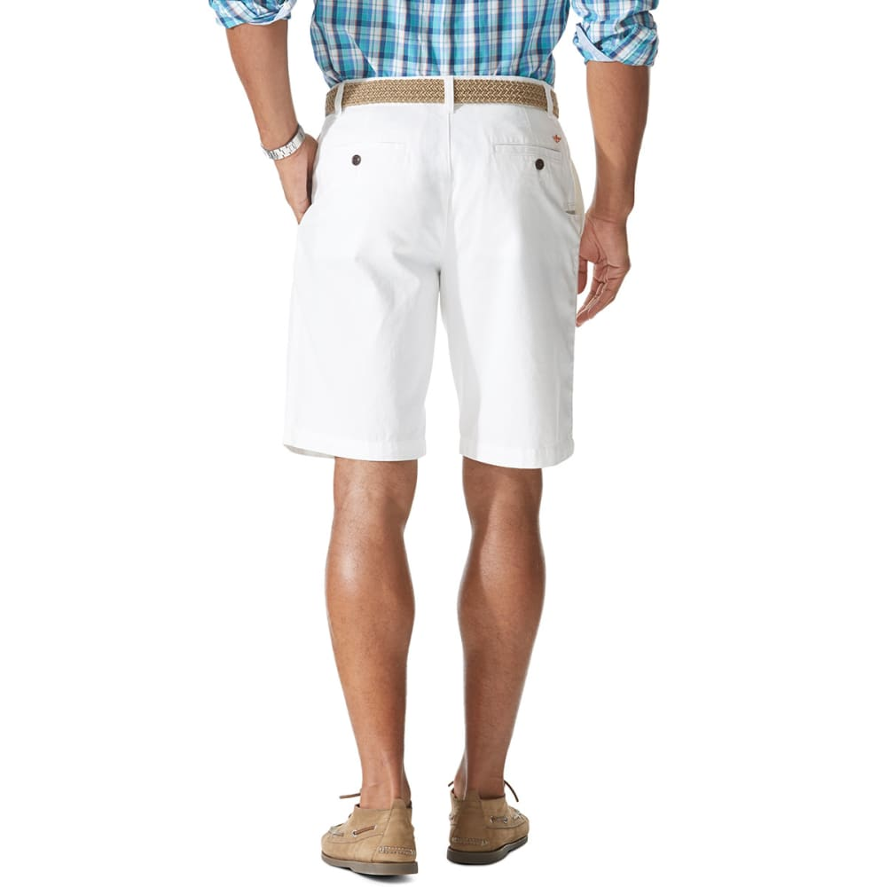 DOCKERS Men's Perfect Flat-Front Shorts - WHITE/PERIWINKLE