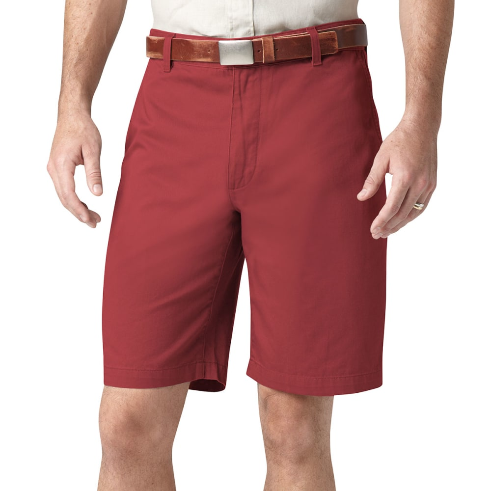 DOCKERS Men's Perfect Flat Front Shorts - BANK RED