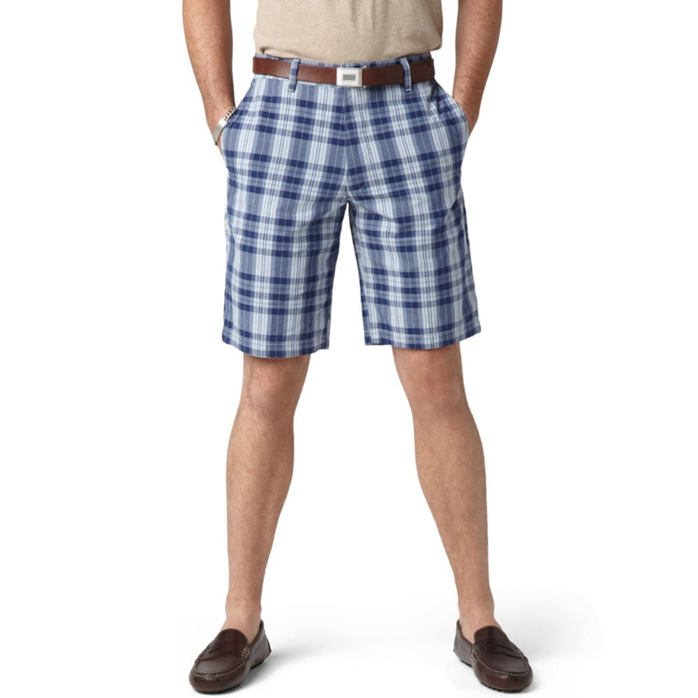 Dockers Men's Plaid Perfect Flat Front Shorts - MEDIEVAL BLUE