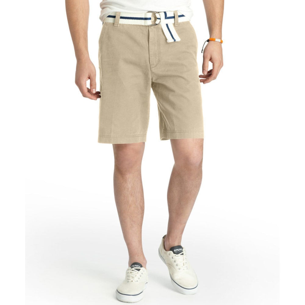 IZOD Men's Saltwater Flat Front Shorts - 261-CEDARWOOD