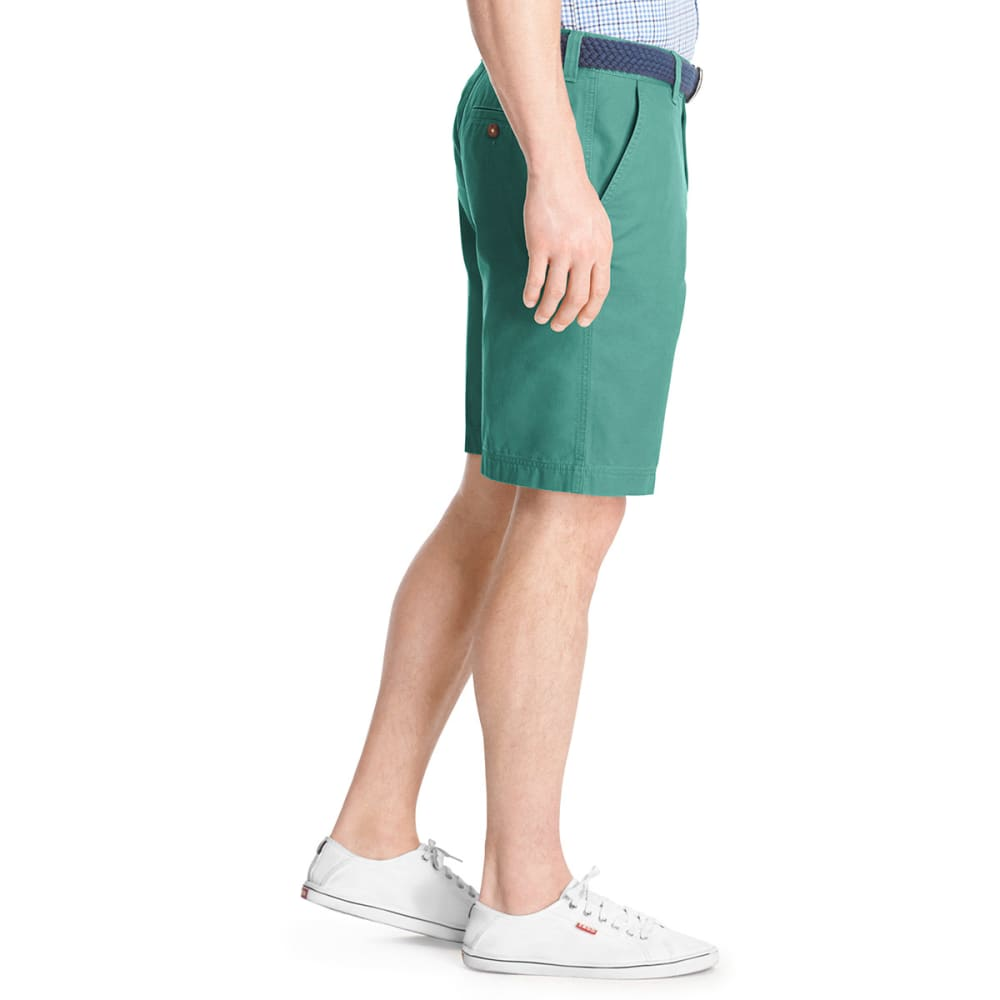 IZOD Men's Saltwater Flat Front Shorts - GREEN BLUE SLATE