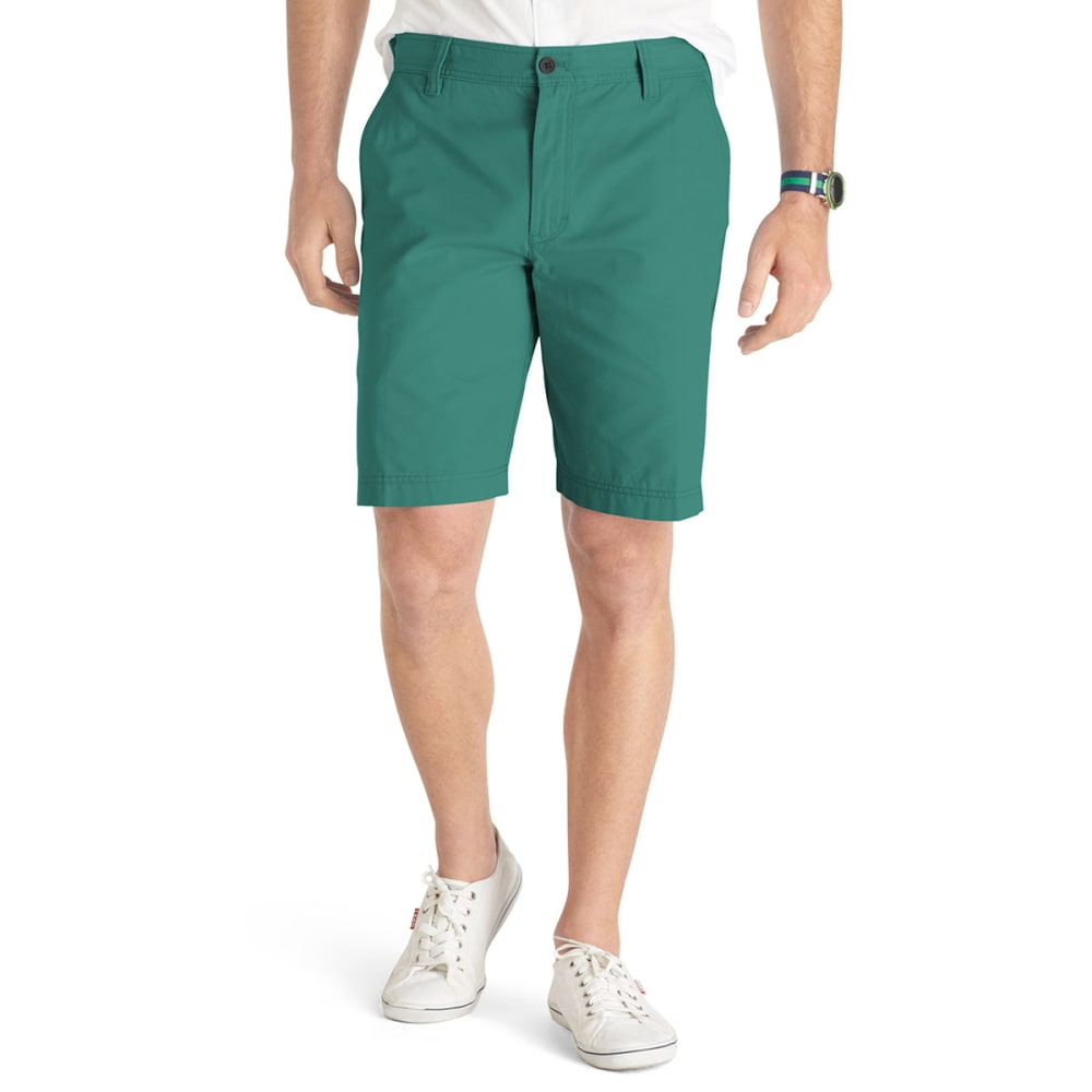 IZOD Men's Saltwater Flat Front Shorts - GREEN BLUE SLATE