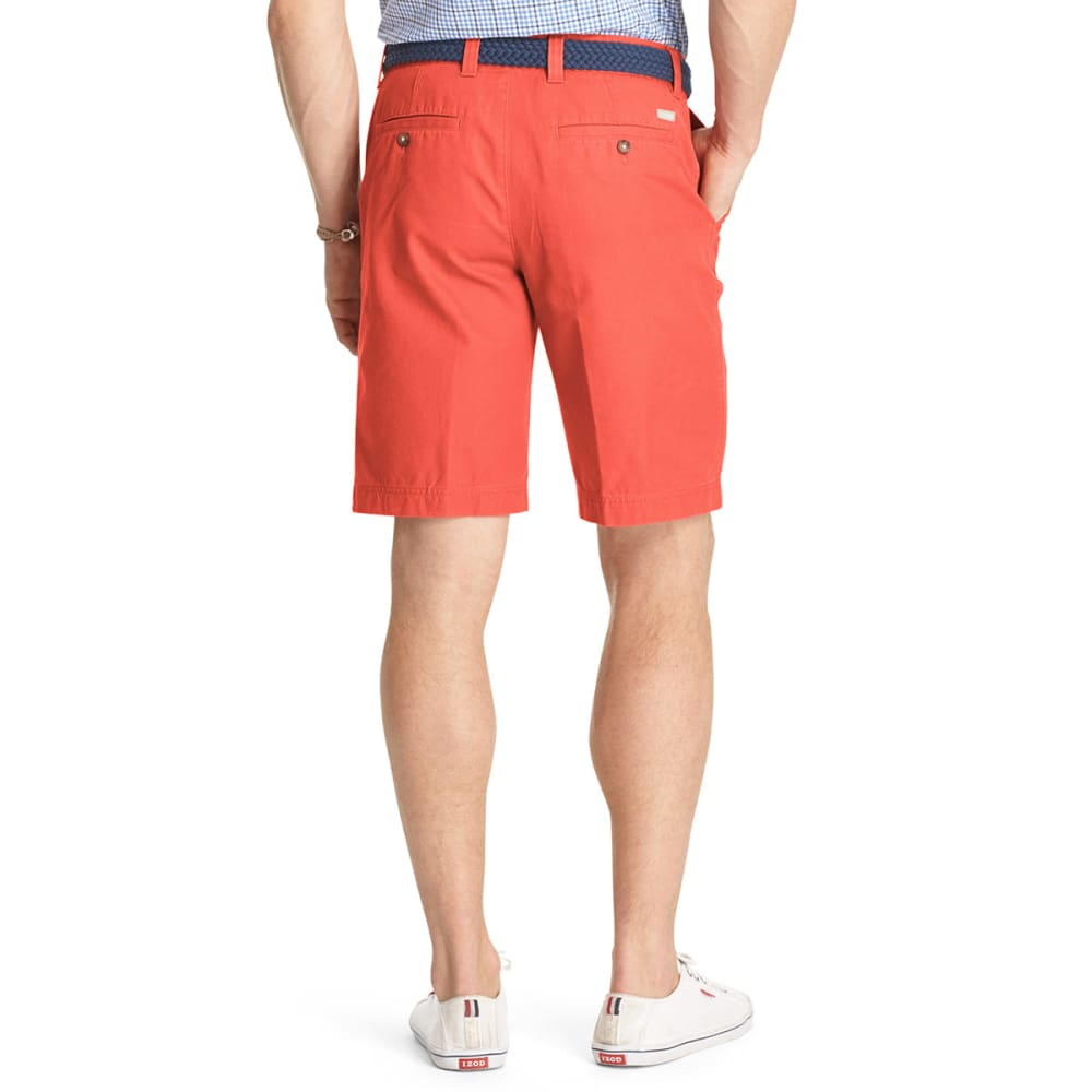 IZOD Men's Saltwater Flat Front Shorts - CRANBERRY