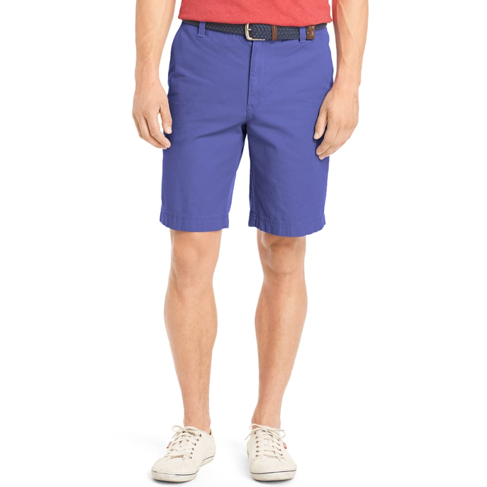 IZOD Men's Saltwater Washed Flat Front Shorts - 464-BLU REVIVAL
