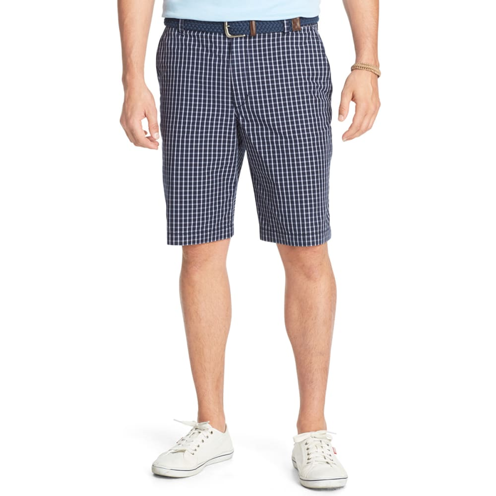 IZOD Men's Plaid Flat Front Shorts - ENAMEL BLUE